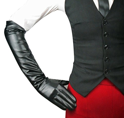 Edith qi Women's Long Evening Dress Faux Leather Elbow Length Party Gloves,Large,Black