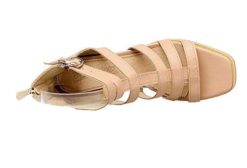 Toe Heels Pink Sandals Women's Open Pu Zipper VogueZone009 Kitten w1OEqpxOY