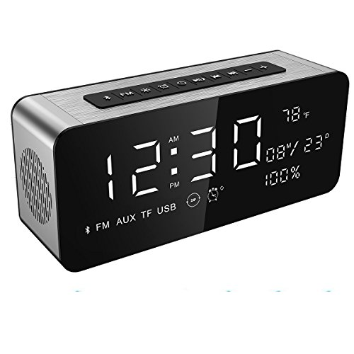 Soundance Electric Digital LED Alarm Clock Wireless FM Radio Portable Bluetooth Speaker USB Built-in Mic Bedroom Bedside Office Desk iPhone Android PC Laptop Desktop Computer, A10 Sliver