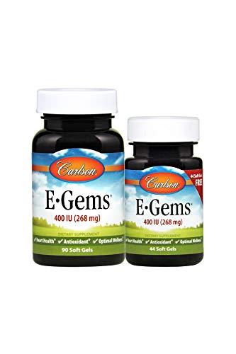 (Carlson - E-Gems, 400 IU (268 mg), Heart Health & Optimal Wellness, Antioxidant, 90+44 Soft gels )