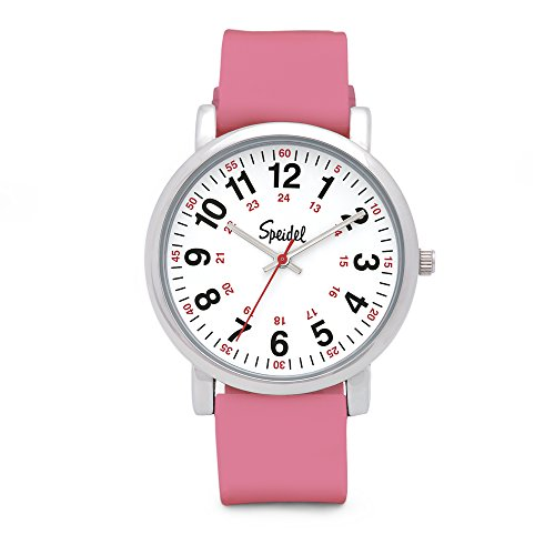 Speidel Scrub Watch for Medical Professionals with Pink Silicone Rubber Band - Easy to Read Timepiece with Red Second Hand, Military Time for Nurses, Doctors, Surgeons, EMT Workers, Students and More