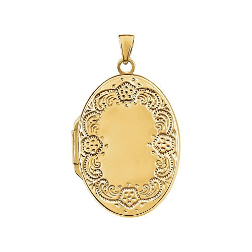 STU001- 14K Yellow Gold-Plated Sterling Silver Oval Locket by STU001-