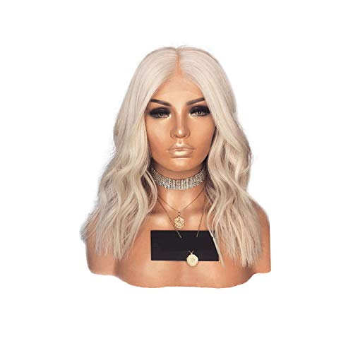 ghhingj Short Body Wave Heat Resistant Wigs Synthetic Lace Front Wig 14 Inch Middle Part Glueless Wigs For Women 150 Density,0809,150%,Lace Front,14inches