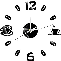 DJYJX Office/Living Room/School Clock/Easy to Read.Creative Wall Stickers Coffee Cup time Acrylic DIY Wall Clock Creative Wall Stickers Clock Mute Living Room Decoration Table,Silver Mirror Material