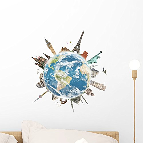 Wallmonkeys Travel World Monument Concept Wall Decal Peel and Stick Graphic (18 in H x 18 in W) WM362651 by Wallmonkeys