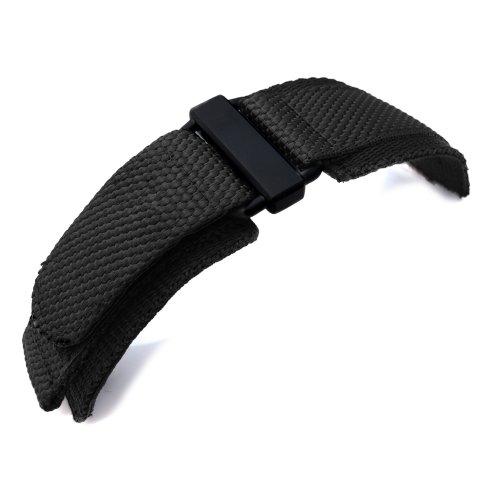 20mm-MiLTAT-Honeycomb-Black-Nylon-Velcro-Fastener-Watch-Strap-PVD-Black-Buckle