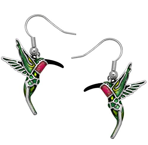 DianaL Boutique Silvertone Enameled Hummingbird Earrings Gift Boxed Bird Fshion Jewelry