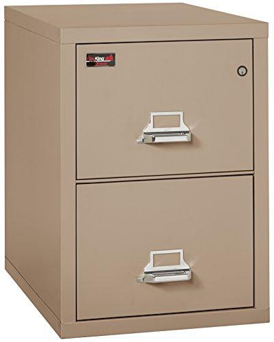 Taupe Vertical File Cabinet (Fireking Fireproof 2 Hour Rated Vertical File Cabinet (2 Letter Sized Drawers, Impact Resistant, Waterproof), 29.9