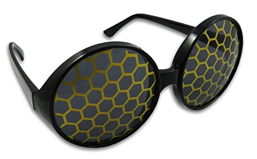 Bumble Bee Sunglasses Bug Eye Glasses (Yellow)