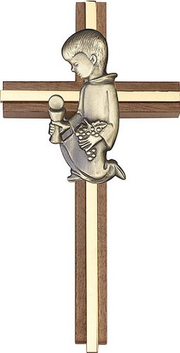 Icecarats Créatrice De Bijoux 6 Pouces Communion Garçon Croix, Noyer Antique Incrustation W / Or 6 X 3 Pouces
