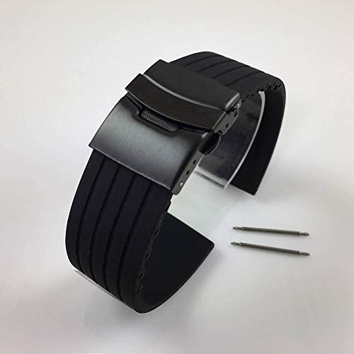 FidgetFidget Rubber Silicone Replacement Watch Band Strap PVD Double Lock Steel Buckle Black 18 mm