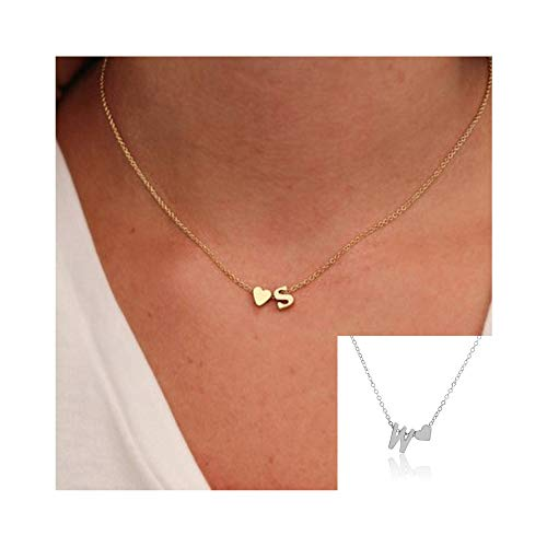 Fashion Pendant Silver Plated (WLLAY Fashion Tiny Dainty Love Heart Initial Necklace Personalized Letter Necklace Name Jewelry for Women Accessories Girlfriend Gift (Silver W))