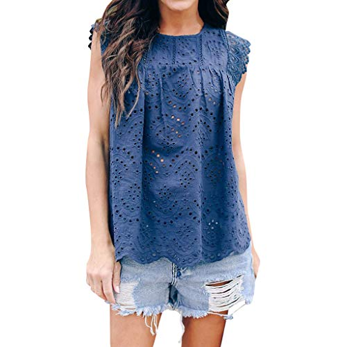 TUSANG Womens Lace Floral Hollow Out Sexy Flare Loose Cute Cotton Shirt Blouse Top Casual Summer Round Collar Tunic(Blue,US-8/CN-L) ()