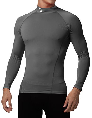 Defender New Men's Cool Compression Mock Shirts Tights Baselayer Soccer GY_M