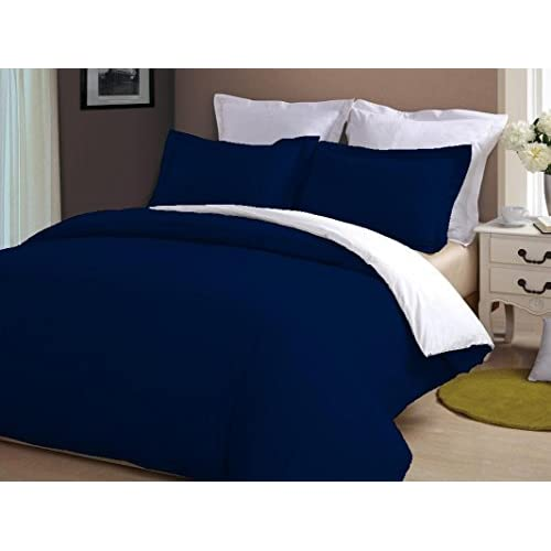 Wholesale Kotton Culture Luxury 5 Piece Reversible Duvet Cover Set With Zipper & Corner Ties 1000 Thread Count 100% Egyptian Cotton (1 Duvet Cover 4 Pillowhsams) (Navy Blue & White, Queen/Full) By for cheap