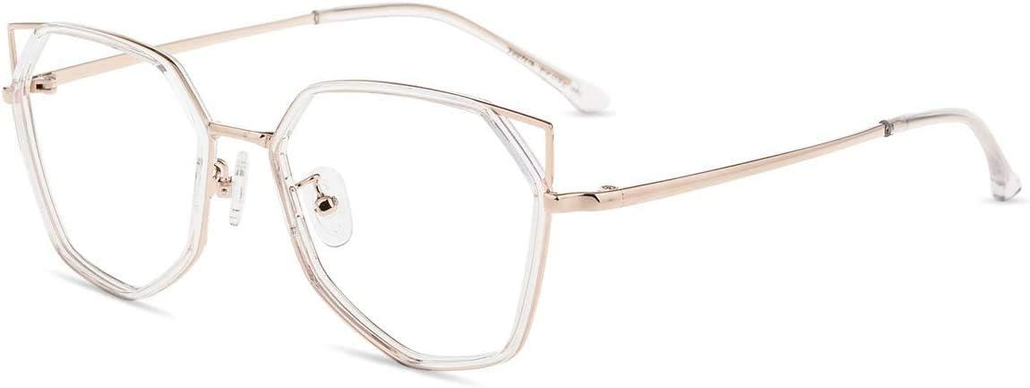 Firmoo Gafas Luz Azul para Ordenador Gaming UV Filtro Proteccion Ojos Antifatiga Gafas para Mujer Hombre,Gafas Bloqueo de Luz Azul, S985 Transparentes Oro