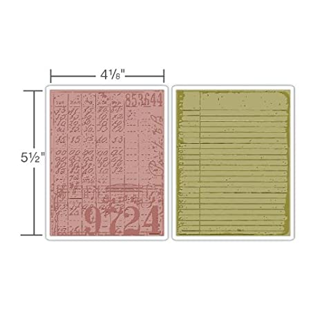 Collage and Notebook Set by Tim Holtz Sizzix 656647 Texture Fades Embossing Folders 2-Pack