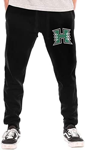 ハワイ大学マノア校 ロゴ メンズ スウェットパンツ トレーニングズボン ジョガーパンツ ロングパンツ スリム リブ 細身 テーパード 無地 ロゴ プリント ポケットをつける