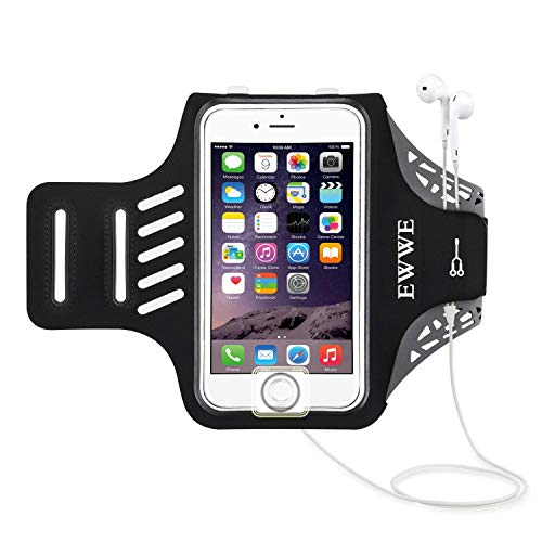 EWWE Water Resistant Sports Armband Arm Case Holder with Fingerprint Touch for 5.5 inch iPhone 8 Plus, 7 Plus, 6 Plus, 6S Plus - Adjustable Reflective Velcro Workout Band by EWWE