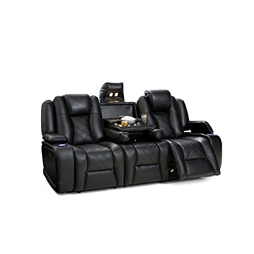 Seatcraft Europa Home Theater Seating Multimedia Power Recline Sofa with Adjustable Powered Headrests and Fold-Down Table (Black) by SEATCRAFT