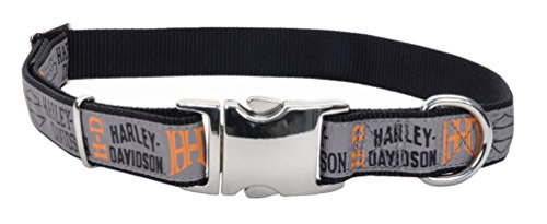 Harley-Davidson 5/8in Adjustable Ribbon Pet Collar - SM & MD 18 in. H6471HHLG18 (Harley Davidson Leather Collar)