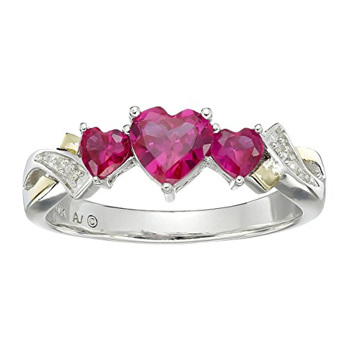 1 5/8 ct Heart-Cut Created Ruby Twist Ring with Diamonds in Sterling Silver and 14K Gold ()