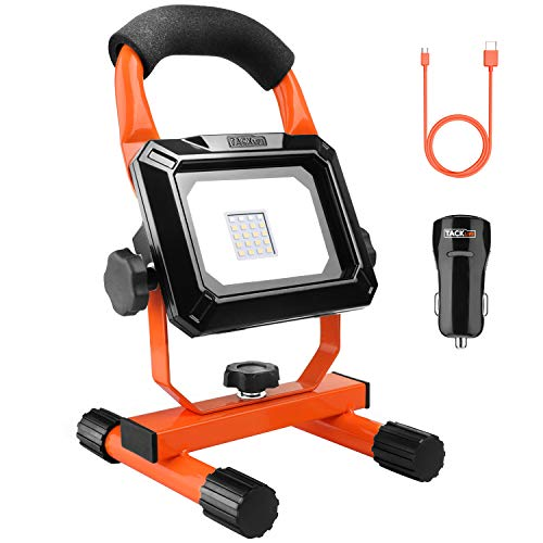 Tacklife 15W Rechargeable LED Work Light, Spotlights, Camping Lights, 4400mAh Lithium Batteries Built-in, with USB Ports to Charge Mobile Devices and Special SOS Modes, Free Car Charger - LWL1B by TACKLIFE
