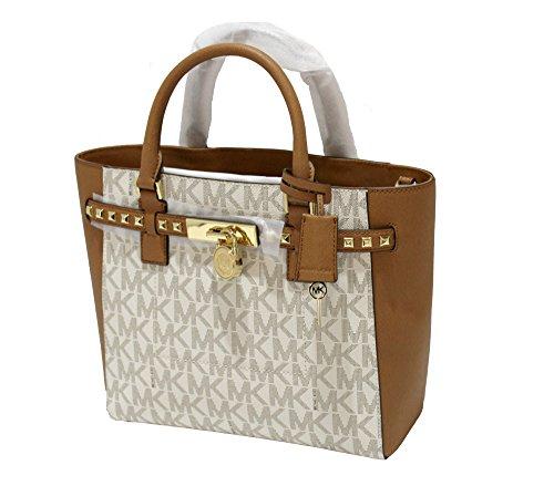 Signature Tote Traveler (Michael Kors Women's Hamilton Traveler STUDDED Large TOTE Leather Handbag)