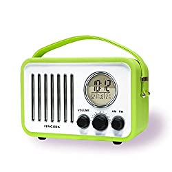 Portable Wood FM AM Outdoor Radio Alarm Clocks Retro Portable Radio with Battery,Clock Radios for Bedroom or Outdoors,Color Green