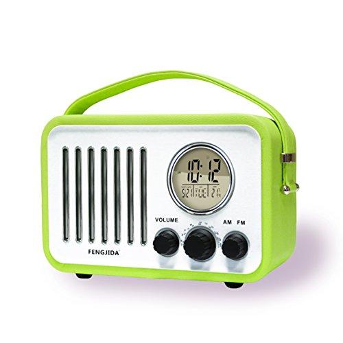 Portable Wood FM AM Outdoor Radio Alarm Clocks Retro Portable Radio with Battery,Clock Radios for Bedroom or Outdoors,Color Green