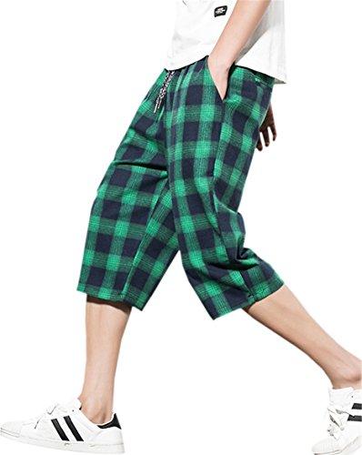 (Men's Loose Fit Capri Plaid Shorts, Green Black, Tag Size 3XL = W36)