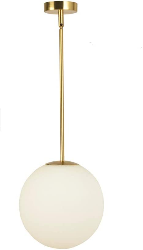 Matte White Glass with Brass Finish EFINEHOME Globe Pendant One Light Pendant Hanging Modern Light Fixture CA 25cm// 10inch