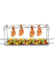 14 Slot BBQ Chicken Leg Rack Grilled Chicken Wings Grill Brighters Stainless Steel Roast Duck Holder for BBQ Fans