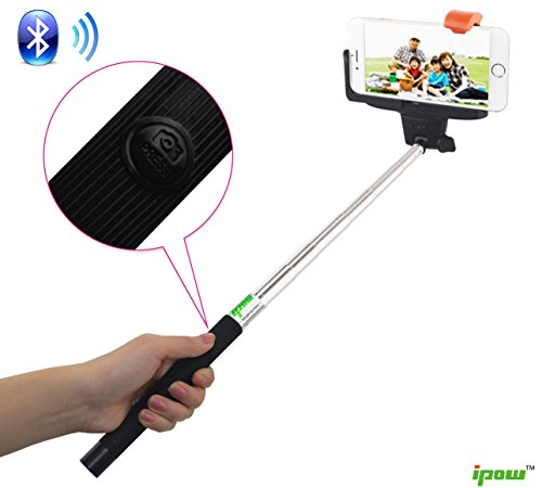 ipow rechargable wireless bluetooth selfie stick with remote shutter function. Black Bedroom Furniture Sets. Home Design Ideas