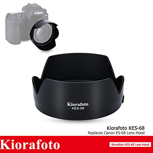 Kiorafoto Dedicated Bayonet Petal Flower Reversible Lens Hood Shade Protector for Canon EF 50mm f/1.8 STM Lens, Replaces Canon ES-68, with Button to Lock or Release ()