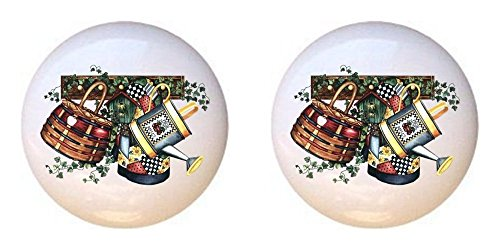 SET OF 2 KNOBS - Country Collectibles - Country Designs - DECORATIVE Glossy CERAMIC Cupboard Cabinet PULLS Dresser Drawer KNOBS