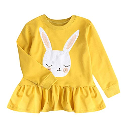 Armoire Cotton (1-5T Toddler Kids Baby Girls Sweatshirt Pleated Dresses Long Sleeve Cute Rabbit Tops Princess Dress Winter Clothes (Yellow, 5T(4-5 Years)))