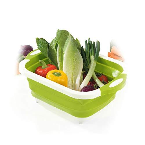 jinjijn 4 in 1 Multi-Board Dayvion More Tools Drain Basket Foldable for Kitchen Fruit Vegetables fruit vegetable washing basket Kitchen Collapsible Dish Drainer Drying Rack Basket Tik Tok (Green) (Vegetable Barrel)