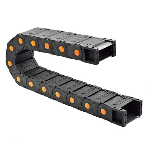 Plastic Drag Chain Cable Carrier Closed Type with End Connectors R125 35 x 75mm L1000mm for Electrical CNC Router Machines