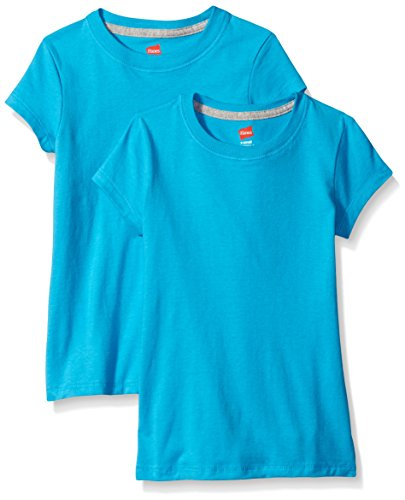 Hanes Little Girls' Jersey Cotton Tee (Pack of 2), Process Blue, X-Large