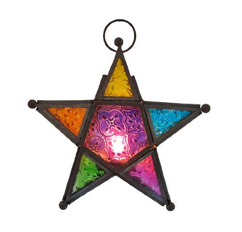 Stained Glass 3D Star Hanging Tea Light Lantern 7 1/2 Inch