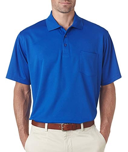 UltraClub Adult Cool & Dry Mesh Piqué Polo with 8210P -Royal M ()