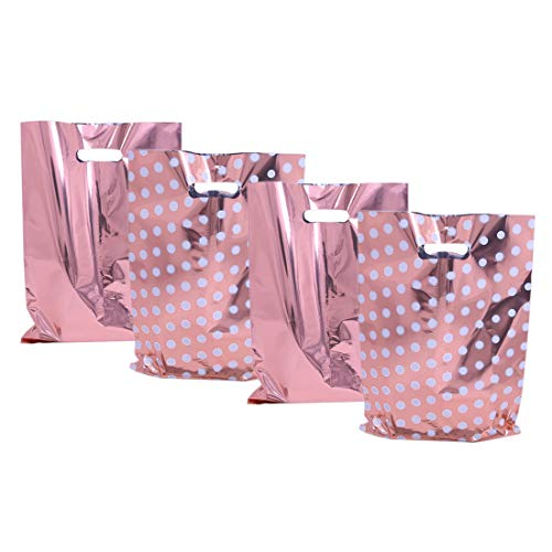 (UNIQOOO 60 Metallic Rose Gold & Polka Dot Wedding Favor Bags, Treat Bags Bulk, Gift Candy Cookie Buffet Bag, Great for Bridal Shower, Baby Shower, Birthday Party, Events, Celebrations - 6 1/2