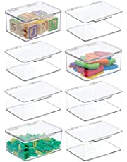 """mDesign Plastic Stackable Organizer Toy Box with Attached Lid for Storage of Action Figures, Crayons, Markers, Building Blocks, Puzzles, Craft or School Supplies - 3"""" High, 8 Pack - Clear"""