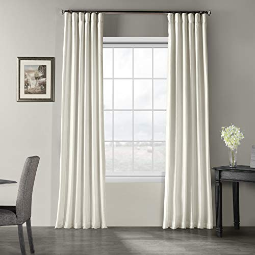 Half Price Drapes PDCH-KBS2-96 Vintage Textured Faux Dupioni Silk Curtain, 50 x 96, Off White