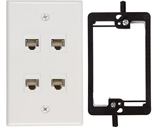 Cat5 Wall Outlet (Buyer's Point 4 Port Cat6 Wall Plate, Female-Female White with Single Gang Low Voltage Mounting Bracket Device (4 Port))