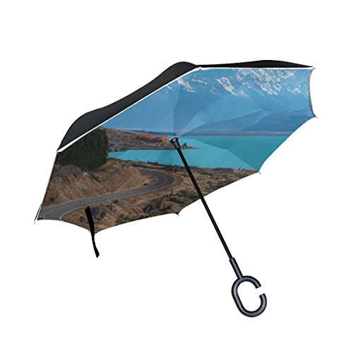 RH Studio Inverted Umbrella Lake Pukaki New Zealand Road Large Double Layer Outdoor Rain Sun Car Reversible Umbrella by RH Studio