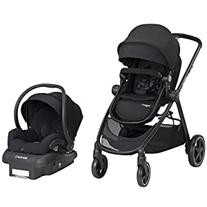 Maxi-Cosi Zelia 5-in-1 Modular Travel System Stroller and Mico 30 Infant Car Seat Set (Night Black)