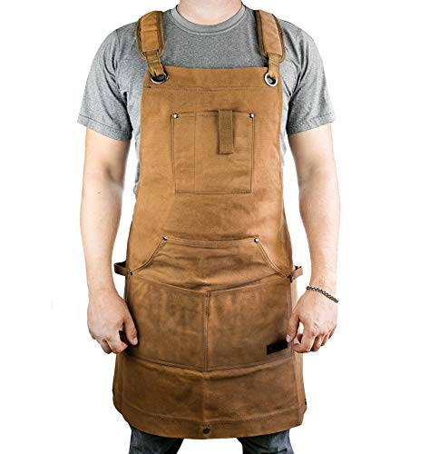Waterproof Canvas Work Apron for Men and Women, Heavy-Duty Waxed for Durability and Safety - Brown