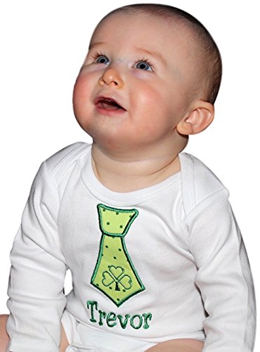 St. Patrick's Day Onesie Bodysuit with Irish Shamrock Tie for Baby Boys with Custom Name (3-6 Months, White Long Sleeve)]()